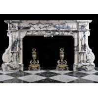 China Blue N Purple Veined White Marble Fireplace wholesale