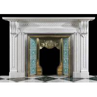 Buy cheap White Marble Antique Fireplace Mantel from wholesalers