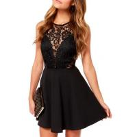 Buy cheap Black Lace Hollow Sleeveless Top Fit&Flare Dress from wholesalers