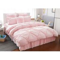 Buy cheap Pink / Blue / White Ruched Home Comforter Bedding Sets 4 Pcs 100% Cotton from wholesalers