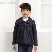 China Girls latest design short long sleeve turn-down collar coat with ruffles wholesale