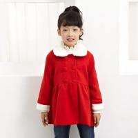 China Girls christmas dress clothing fashion kids woolen long red winter coat wholesale