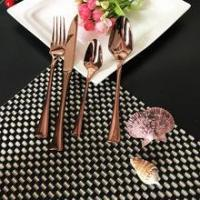 China Rose Gold Wedding Stainless Steel Flatware, Hammered Cutlery Set wholesale