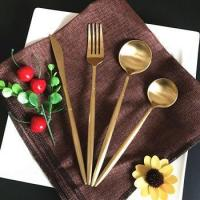 China long handle cutlery sets, classic design gold wedding flatware wholesale