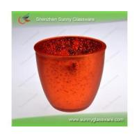 China Red plating 495ml bowl-shaped glass candle holder wholesale