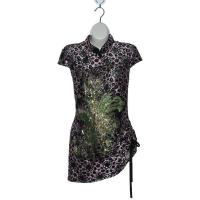 China Violet Chinese Blouse with Phoenix & Leopard Print wholesale