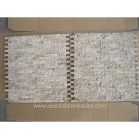 China Split Face Classic Looking Travertine White Brick Mosaic Wall Tiles on sale