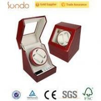 China Red glossy custom printing wooden watch winder box wholesale