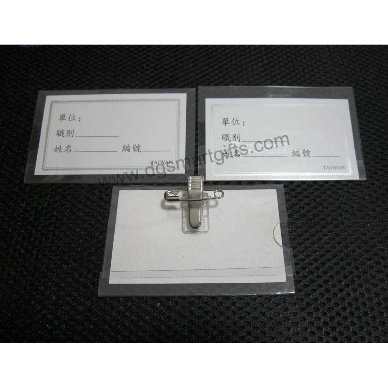 China PVC badge holder with pin clip on sale