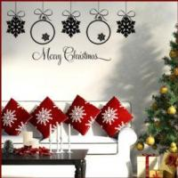 China Merry Christmas & 5 Baubles ~ Wall sticker / decals wholesale