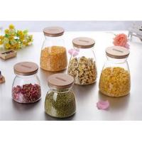 China Table & kitchen glassware Glass Storage Containers with bamboo wholesale