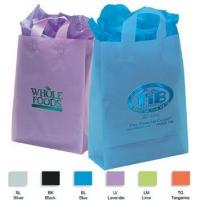 "China Foil Imprint Translucent Frosted Soft Loop Promo Shopping Bag - 13""w x 17""h x 6""d wholesale"