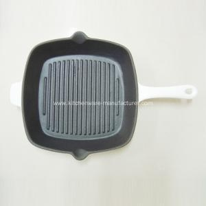 Quality White Square Enamel Cast Iron Skillet/Grill Pan for sale