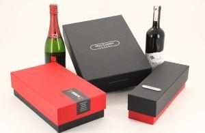 Quality Customized Paper Cardboard Wine Box/Wine Gift Boxes/Winebox ,Luxury Black Box Wine Packaging for sale