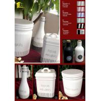 China Ceramic white strips jar oil bottle and canister wholesale