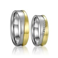 China Gold Plated Pure Titanium Wedding Bands Ring for Men and Women A Pair on sale