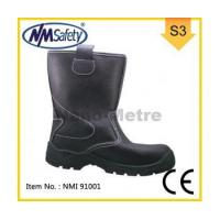 China Black High Cut Industrial Shoes Leather Safety Boots-NMI 91 001 on sale