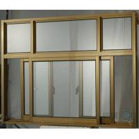 China Champagne color safety lock aluminum sliding window with 6 panels wholesale