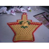 China Overlocking Crochet Christmas Tree Ornaments Flowers Shape Yellow Basket With Red Border on sale