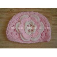 China Cable Pattern Pink Crochet Flower Hat Hollow Out Crochet Baby Hats With Flowers wholesale