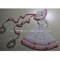 China Crochet Christmas Tree Skirt White Dress Cloche Hat With Pink Trimming And Beads on sale