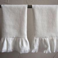 China Ruffled Pure White Linen Hand Towel for Hotel Restaurant Home Used OEM Welcomed GL-006 on sale