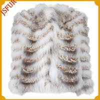 Buy cheap Fur jackets White fox fur jacket with camel slit leather trim from wholesalers
