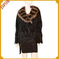 Buy cheap Fur jackets Lamb fur jacket with leather belt trim from wholesalers