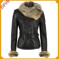 Buy cheap Fur jackets Leather jacket with blue fox fur collar from wholesalers