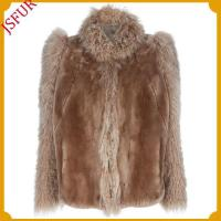 Buy cheap Fur jackets Rex rabbit fur jacket with mongolian lamb fur trim of sleeve &collar from wholesalers