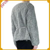 Buy cheap Fur jackets Elegant lamb fur jacket with a belt trim from wholesalers
