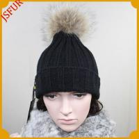 China Elastic knitted wool hat with raccoon fur ball wholesale