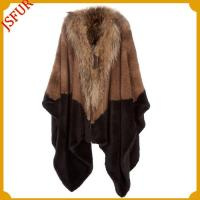 China Knitted mink fur stole with raccoon dog fur collar and back trim wholesale