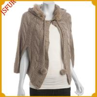 China Knitted stole with raccoon fur collar trim wholesale