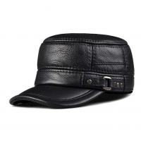 Buy cheap lethmik Vintage Military Cadet Cap Genuine Leather Army Force Camo Hat from wholesalers