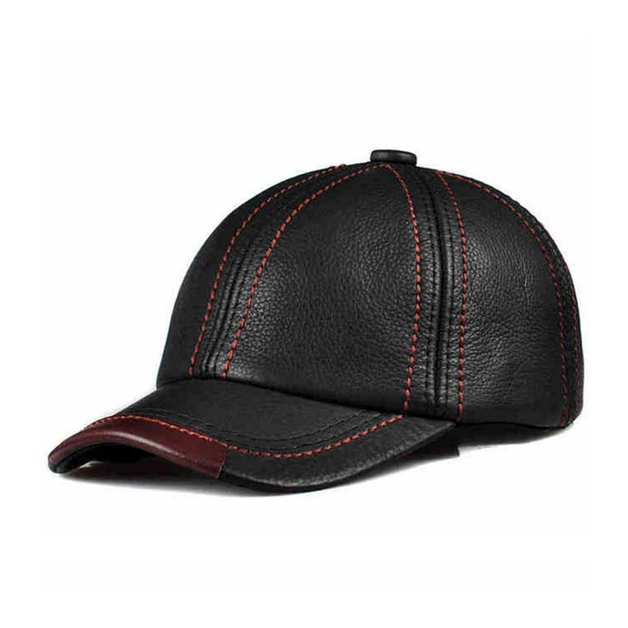 Buy cheap lethmik Black Baseball Caps Unisex Adjustable Cowhide Leather Cool Hats from wholesalers