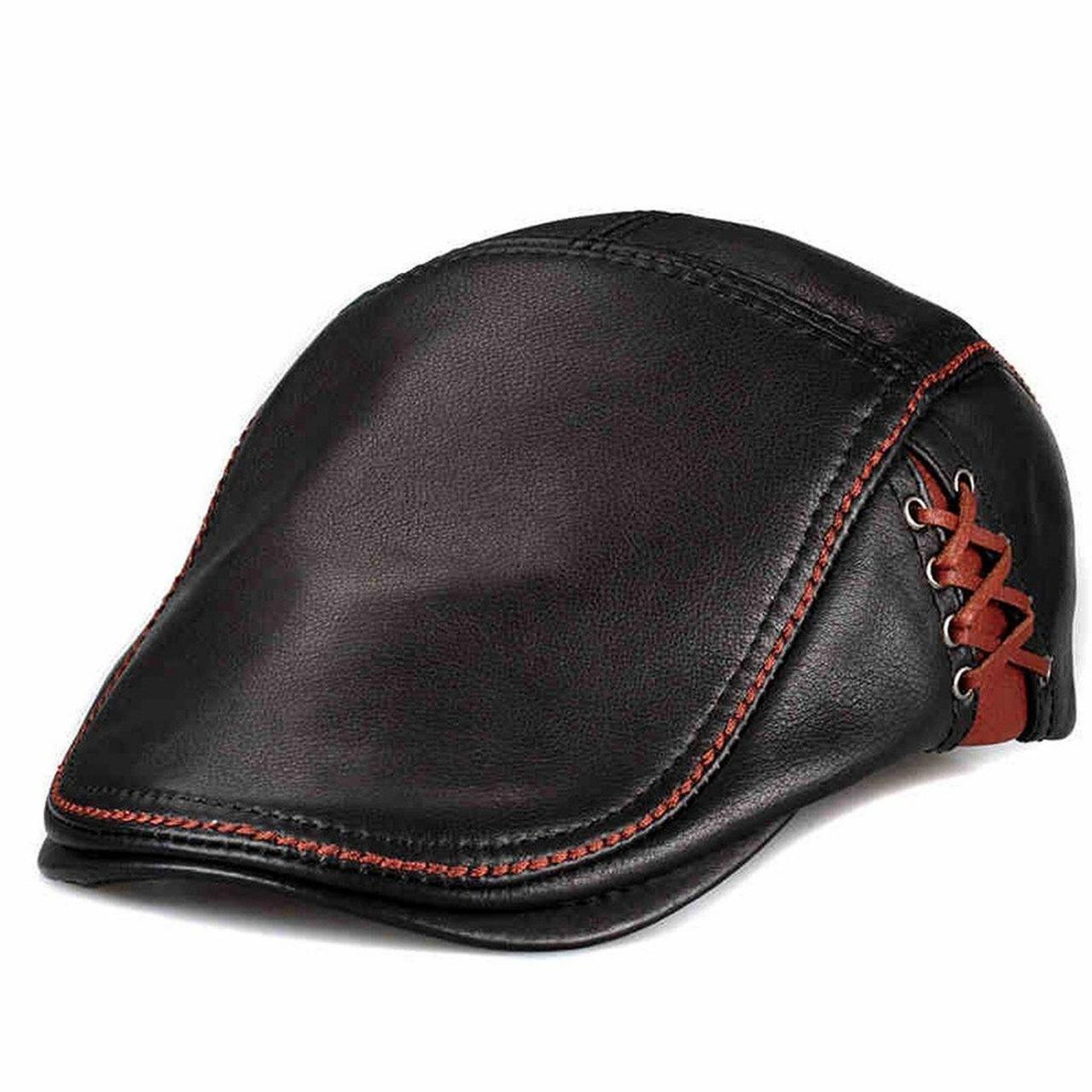 Buy cheap LETHMIK Unique Flat Cap Newsboy Genuine Cowhide Leather Ivy Hats Hunting from wholesalers