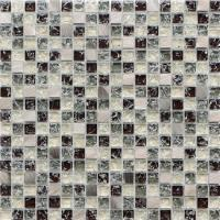 China Brown crack crystal glass mix metal mosaic tile for walls decoration wholesale
