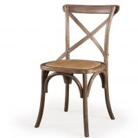 China Dining Chair Nordic Vintage Style Dining Chair For Rattan Seat Cross Wood Back Chair on sale