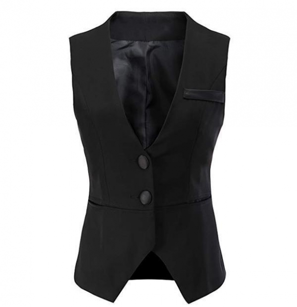 Quality Women V-Neck Business Slim Fit Skinny Button Down Suit Vests for sale