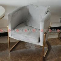 China Stainless steel leisure dining chair with fine linen fabric upholstery hotel chair 2314 on sale