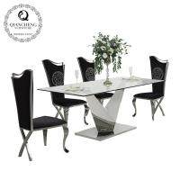 China Contemporary clear glass top stainless steel dining room furniture 826# on sale