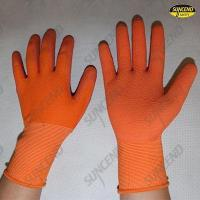 China Double slice back palm piece natural rubber laminated coat work glove on sale
