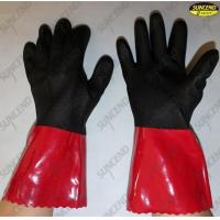 China Thumb web reinforced long cuff protective pvc coated work gloves on sale
