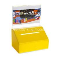 China Bespoke yellow lucite collection boxes for fundraising DBK-566 wholesale