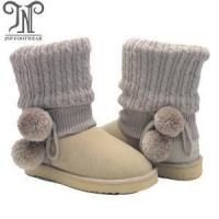 China Cheap Womens Fashion Suede Wool Lined PomPom Boot on sale