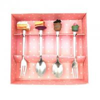 China poly cake design stainless steel cutlery set with color box on sale