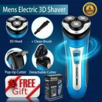 China Mens Electric Rotary Shaver Rechargeable 3D Triple Floating Head Wet Dry Razor on sale