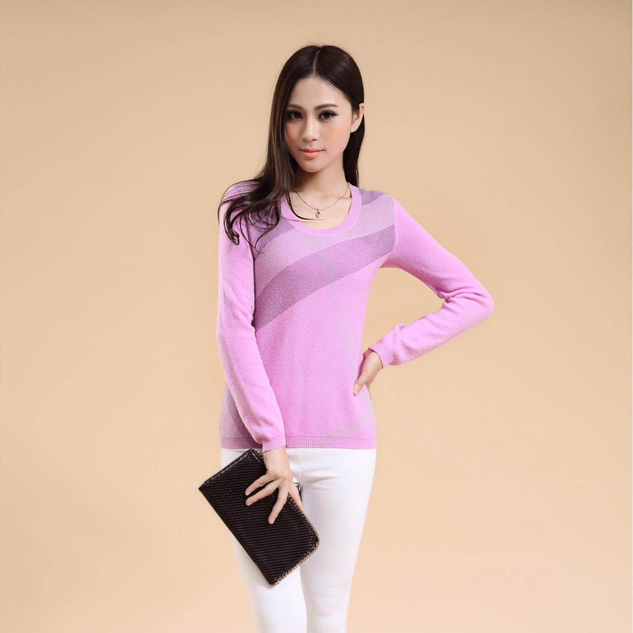 China Women's Long Sleeve Crew Neck Cashmere Sweater Jumper with printing SD9002 wholesale