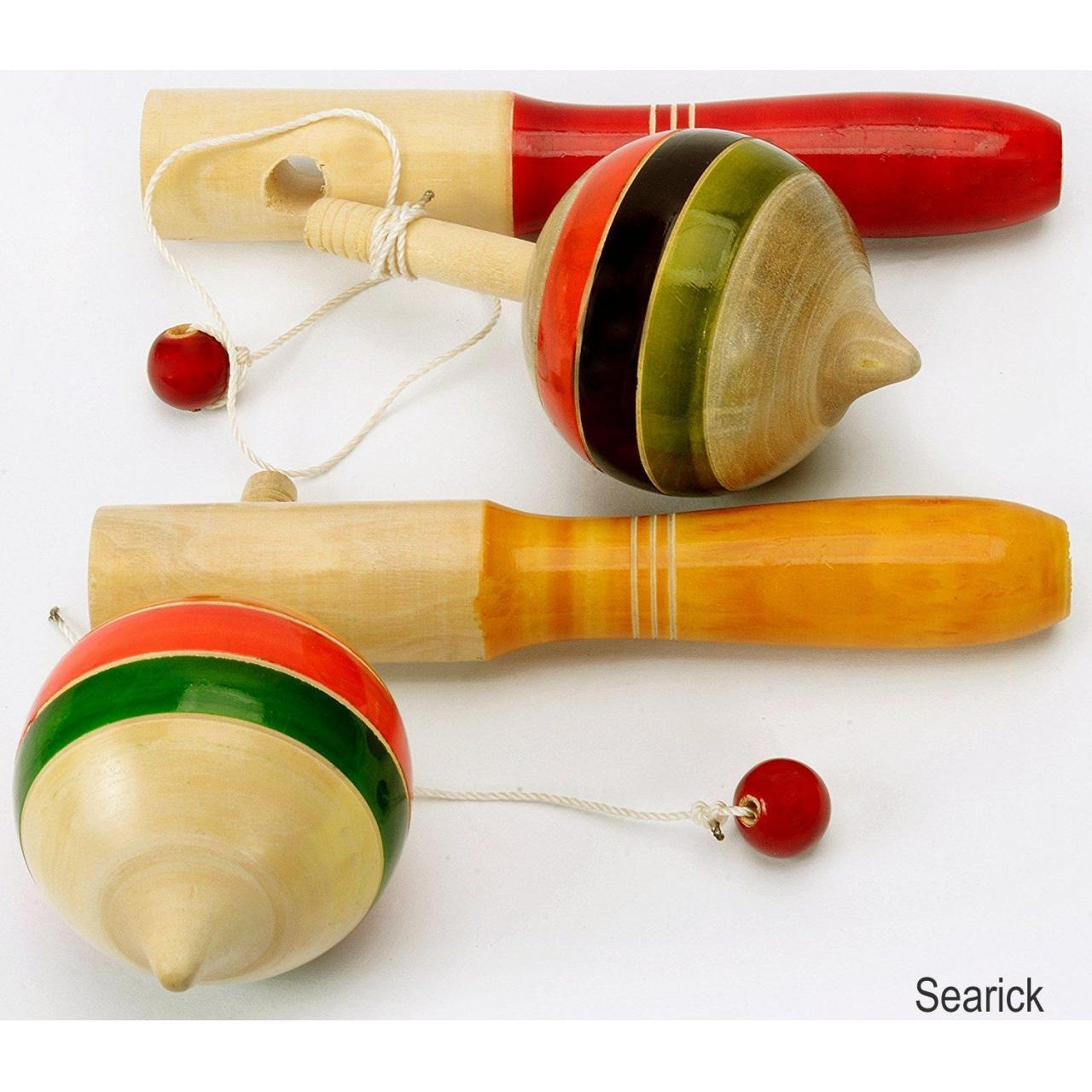 Buy cheap Pair 2Pcs Handmade Lacquer Painted Wooden Spinning Tops Toys Vintage India Craft from wholesalers